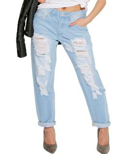 Womens Distressed Denim Jeans, Plus Sizes 16 to 24