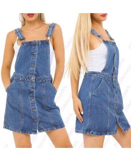 Womens Dungaree Pinafore Dress Denim Skirt Dungarees Size 8 10 12 14 16 Denim Blue