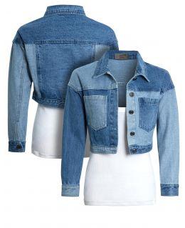 Cropped Colour Block Denim jacket, Uk sizes 8 to 14