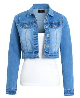 Womens Cropped Denim Jacket Ladies Jean Crop Jackets Blue