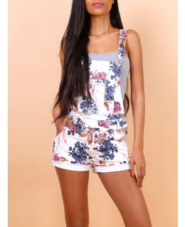Womens Denim Dungaree Shorts, Stretch Floral, UK Sizes 6 to 14