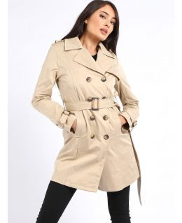 Womens Trench Coat with shoulder epaulets and belt, Black, Stone, UK Sizes 8 to 16