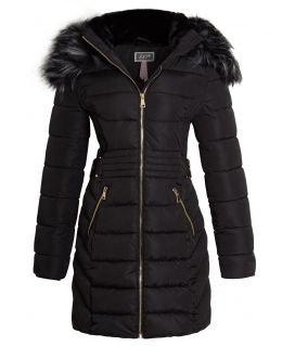 Womens Faux Fur Parka Coat, Off White, Black, UK Sizes 8 to 16