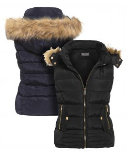 Plus Size Quilted Gilet Bodywarmer with Faux Fur, UK Sizes 18 to 26