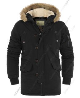 MENS PADDED COAT Quilted HOODED Faux Fur PARKA Size S M L XL Black Khaki Jacket