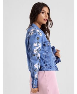 Womens Floral Embroidered Denim Jacket, UK Sizes 6 to 14