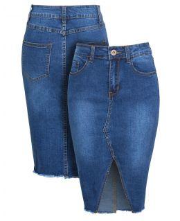 Womens High Waist Stretch Denim Pencil Skirt, Uk Sizes 6 to 14