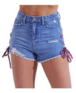 Blue Distressed Lace Detailed Denim Short