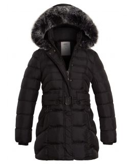 Girls Quilted Puffer Coat, Black, Grey, Ages 3 to 14 Years