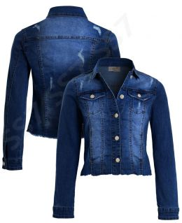 Stretch Raw Hem Denim Jacket