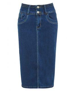 Blue Soft and Stretchable Denim Pencil Skirt