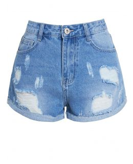 Womens High Waisted Denim Shorts with rips, UK Sizes 6 to 14