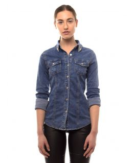 Womens Fitted Sretch Denim Shirt Top with Embellished Collar, UK Sizes 6 to 12
