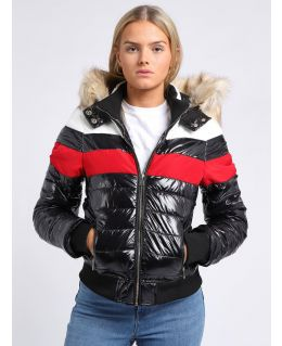 Womens Wet Look Faux Fur Puffer Jacket, UK Sizes 6 to 16