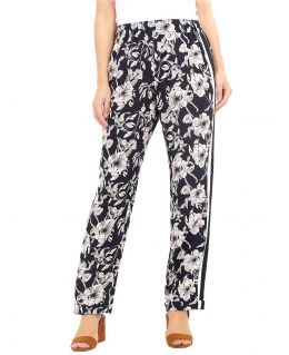 Black and Off-white Floral Trousers (Curve)