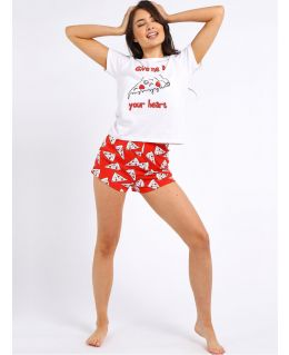 Women's 2 Piece PJ Set Nightwear Tee and Shorts Cotton Pyjamas, UK Sizes 8 to 14