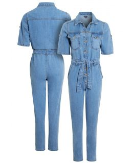 Womens Denim Jumpsuit with Short Sleeves, UK Sizes 8 to 16