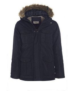 Boys Padded Parka with Faux Fur Hood