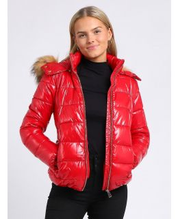 Womens Wet Look Luxurious Faux Fur Puffer Coat, UK Size 8 to 16, Black, Red