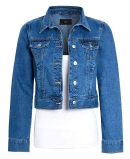 Womens Cropped Denim Jacket, Mid Blue, UK sizes 8 to 16