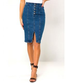 Womens Stretch Front Slit Denim Pencil Skirt, UK Sizes 8 to 16