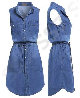 NEW Women Longline Denim Shirt Dress Ladies Jean Dresses Size 8 10 12 14