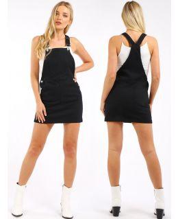 Denim Stretch Dungaree Dress, UK Sizes 8 to 14