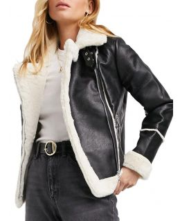 Womens Shearling Lined Aviator Jacket, Black, UK Sizes 8 to 16