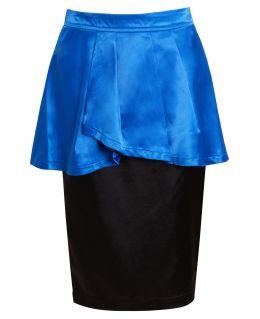 Womens Peplum Pencil Skirt, Blue, Pink, Uk Sizes 8 to 14