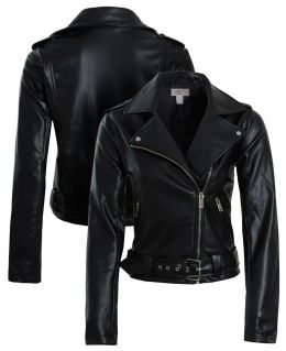 Womens Belted Faux leather Biker Jacket, Sizes 8 to 16