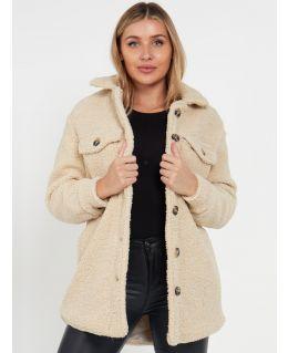 Borg Thicken Fleece Shirt Jacket Shaket, Cream, Black,  UK Sizes 8 to 16