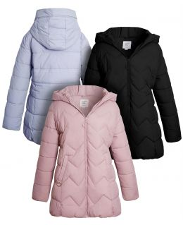 Girls Mid Length Puffer Coat, Black, Lilac, Pink, Ages 9 to 16 Years