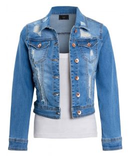 Womens Distressed Rip Denim Jacket, UK Sizes 6 to 16