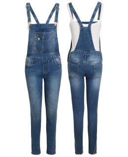 Womens Denim Slim Fit Stretch Dungarees, UK Sizes 6 to 14