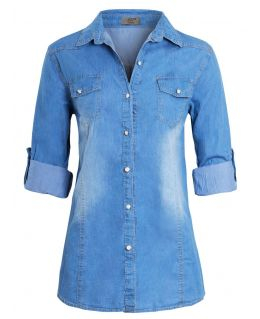 Womens Slim Fit Denim Cotton Shirt, UK Sizes 6 to 12