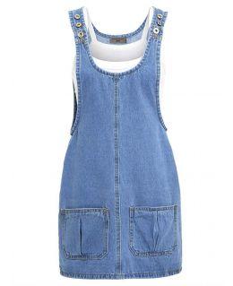 NEW Womens Denim Dungaree Ladies Dress Jean Pinafore Skirt Sizes 6 8 10 12 14 16