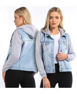 Womens Jersey Hood and Sleeve Denim Jacket, Bleach Wash, Dark Blue, UK Sizes 8 to 16