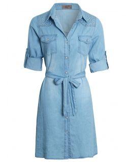 Embellished Cotton Denim Shirt Dress, Light Blue, UK Sizes 8 to 14
