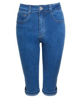 Womens Blue Denim Pedal Pusher Shorts, UK Sizes 10 to 22
