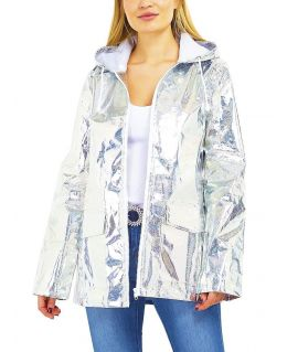 Womens Waterproof Holographic Raincoa, Pink, Silver Glitter, UK Size 8 to 16