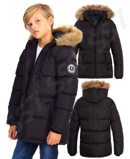 Boys Padded Parka Coat with Faux Fur Trim Hood, Ages 7 to 13 Years