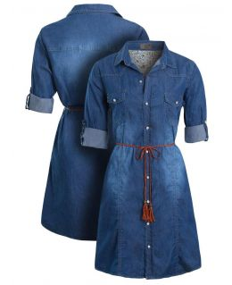 Womens Denim Shirt Dress, Sizes 8 to 14