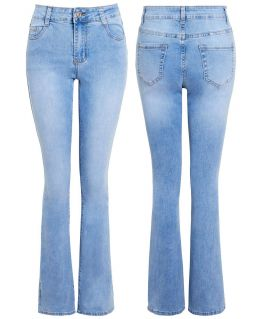 Womens Slim Fit Blue Bootcut Jeans with High Waist, UK Sizes 8 to 16