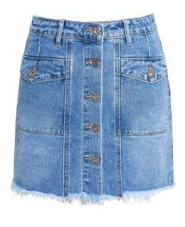 Womens Stretch Denim Mini Skirt with Raw Hem, UK Sizes 6 to 14