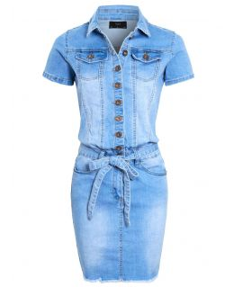 Womens Button Down Stretch Denim Dress, UK Sizes 8 to 16