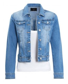 Womens Stretch Denim Jacket in Stonewash Blue, UK Sizes 6 to 14
