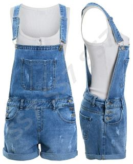 Womens Denim Dungaree Shorts, Denim Blue,  Sizes 6 to 14