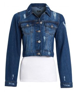 Distressed Cropped Denim Jacket in Mid Blue, UK Sizes 8 to 16