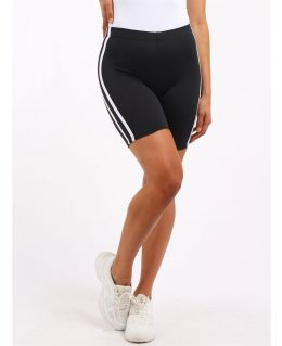 Womens Stretchy Striped Cycling Shorts, Black, Grey, UK Sizes 8 to 14