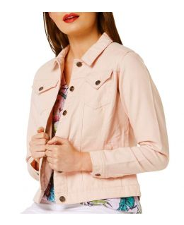 NEW Plus Size 16 18 20 10 12 14 Denim Jacket Women Jean Jackets Ladies Pink